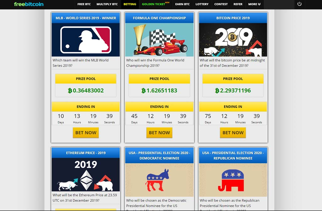 Freebitco.in bettings you can big prize pool in bitcoin.