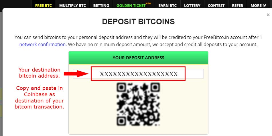 How to get your bitcoin address in freebitco.in
